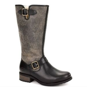Ugg Chancery Crackled Leather Riding Boots